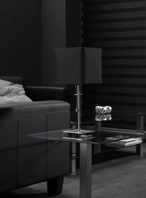 Tischlampe, Tischleuchte mit einem schwarzen Lampenschirm, Höhe 49 cm