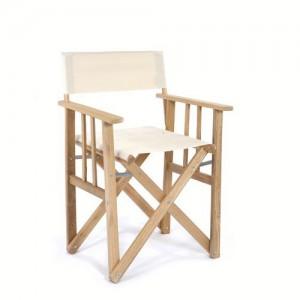 Regiestuhl aus Massivholz und 100 % Baumwolle, Farbe Creme