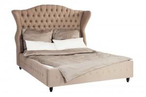 Bett gepolstert Barockstil, Bett Farbe leinen Landhaus, Maße 200 x 160 cm