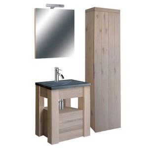Waschtisch mit Badezimmerschrank und Spiegel, Bad Möbel Set 5 teilig, Eiche massiv