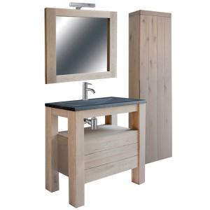 Badezimmer Set 5 teilig, Waschtisch mit Badezimmerschrank und Spiegel,´Bad Möbel Set, Breite 100 cm