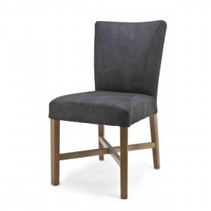 Polsterstuhl, Stuhl im Landhausstil in anthrazit