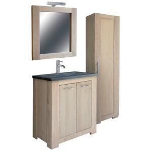 Badezimmer Setz 5 teilig, Waschtisch mit Spiegel und Badezimmerschrank, Breite 75 cm