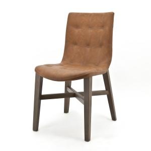 Stuhl cognac, gepolstert, Gastro, Holz
