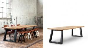 Esstisch im Industriedesign, Tischplatte aus  Eiche massiv, Tischbeine aus Metall, in drei Größen