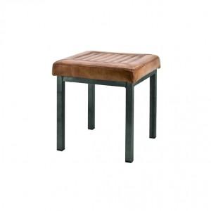 Hocker gepolstert cognac, Metall, Sitzhocker im Industriedesign, Maße 40 x 40 cm