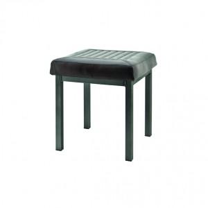 Bank gepolstert dunkelbraun, Metall, Sitzbank im Industriedesign, Maße 40 x 40 cm