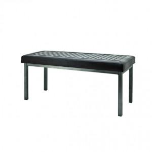 Bank gepolstert dunkelbraun, Metall, Sitzbank im Industriedesign, Maße 100 x 40 cm