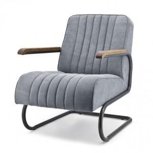 Sessel mit Armlehnen im Industriedesign, Sessel gepolstert grau