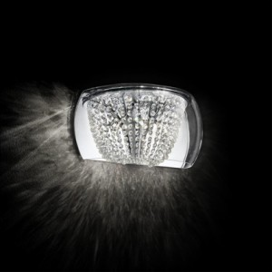 Wandleuchte Glas Kristall transparent, Metall chrom