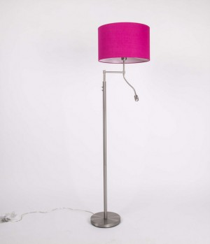 Stehleuchte mit LED-Leselampe,  Lampenschirm in Farbe Pink