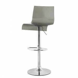 Design Barhocker, Barstuhl Farbe grau-transparent-chrom