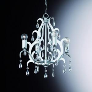 Pendel-/ Kronleuchter Kristall transparent, Metall chrom