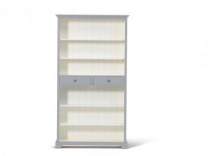 Bücherschrank grau-weiß Massivholz, Bücherregal im Landhausstil, Regal grau-weiß