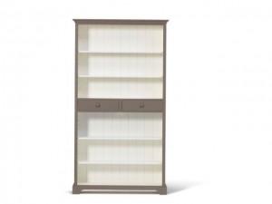 Bücherschrank taupe-weiß Massivholz, Bücherregal im Landhausstil, Regal taupe-weiß