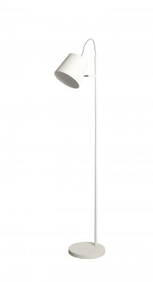 Moderne Stehleuchte mit einem Lampenschirm in zwei Farbewn: schwarz und weiß