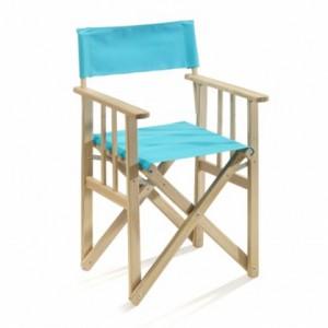 Regiestuhl aus Massivholz und 100 % Baumwolle, Farbe azur blau
