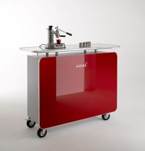 Office Bar auf Rollen, mobile Coffe Bar Hochglanz lackiert, Farbe Rot, Breite 140 cm