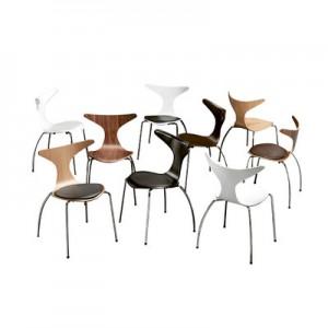 Design Stuhl aus Schichtholz, verchromten Stuhlbeinen in vier Farben