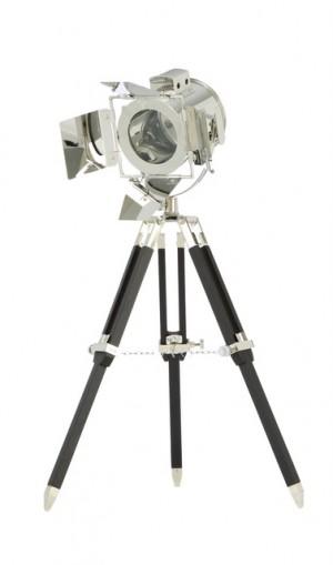 Maritime Stativlampe - Tischleuchte Dreifuß, schwarz-chrom
