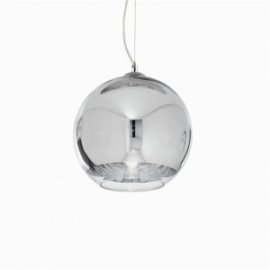Pendelleuchte Metall chrom, Glas transparent, höhenverstellbar