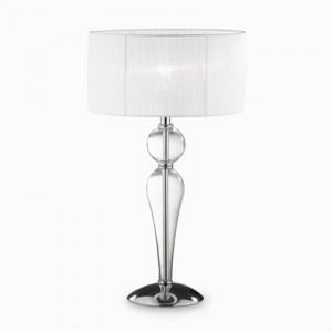 Tischleuchte Metall chrom Glas transparent Organza weiß