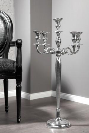 Kerzenständer Silber 5-armig,  Kerzenhalter aus Aluminium, Höhe 80 cm