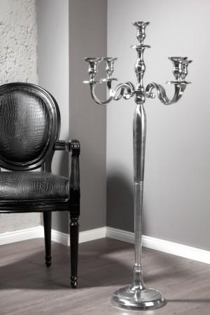 Kerzenständer Silber 5-armig,  Kerzenhalter aus Aluminium, Höhe 120 cm
