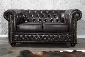 2er Sitzer Sofa Chesterfield braun, Farbe coffee braun, Breite 150 cm