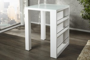 Bartisch weiß,  Stehtisch weiß,  Höhe 110 cm