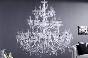Kronleuchter aus Acrylglas 30-Armig, Hängeleuchte Farbe transparent, Ø 120 cm
