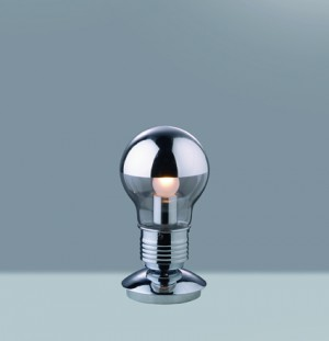 Tischleuchte Glas transparent, Metall chrom, modern