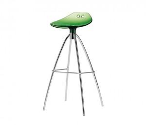 Design Bar-Tresenhocker, Farbe Grün - Chrom, Sitzhöhe 80 cm