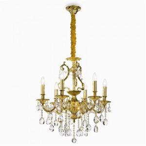 Kronleuchte Metall, Samt gold, Kristall transparent modern