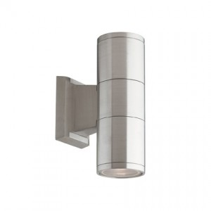 Outdoor-/Wandleuchte Aluminium gebürstet, Pirexglas transparent