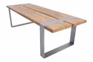 Esstisch massiv Eiche, Tisch im Industriedesign mit einem Gestell aus Metall, Maße 280 x 100 cm