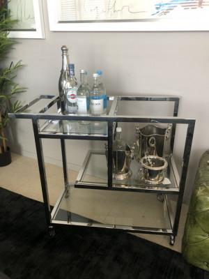 Servierwagen Glas Metall, Serviertisch Silber-Glas, Trolley Silber