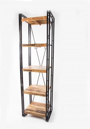 Regal mit fünf Böden aus Massivholz im Industriedesign, Breite 55, Höhe 200 cm