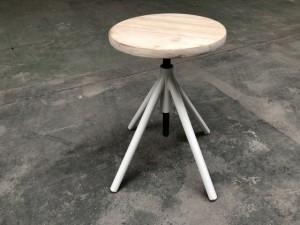 Hocker weiß verstellbar, Barhocker Industriedesign weiß, Sitzhöhe 41-62 cm