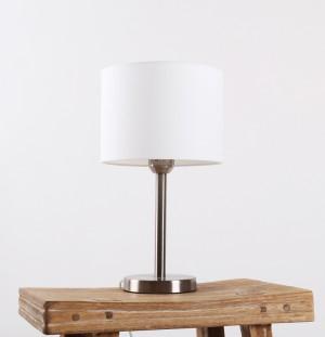 Moderne Tischleuchte verchromt mit Lampenschirm weiß