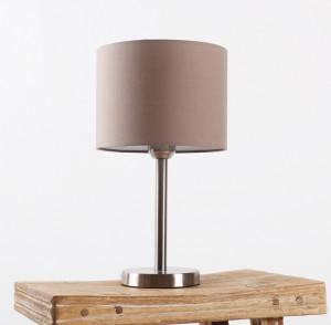 Moderne Tischleuchte verchromt mit Lampenschirm taupe