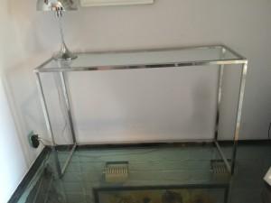 Konsole Glas Silber, Wandkonsole Silber Metall, Wandtisch verchromt Glas-Metall, Breite 100 cm