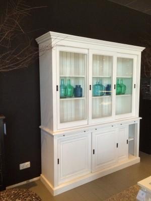 Vitrinenschrank - Geschirrschrank Weiß im Landhausstil, Vitrine in zehn Farben, Breite 198 cm