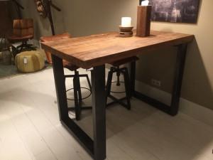 Bartisch grau - Naturholz, Tresentisch Industrie grau,  Tisch Metall grau, Höhe 110 cm