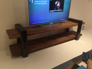 TV Regal grau-Naturholz, Lowboard Industrie, Fernsehschrank Industriedesign grau, Breite 200 cm