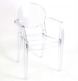 Design Stuhl mit Armlehne transparent mit Sitzkissen