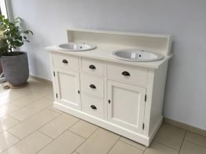 Doppelwaschtisch weiß Landhaus, Waschtisch-Schrank Massivholz grau