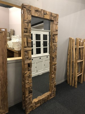 Spiegel Massivholz Teak, Wandspiegel Altholz Teak, Maße 200 x 90 cm