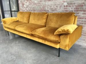Sofa gelb 3er Sitzer, Sofa retro 3er Sitzer, Breite 225 cm