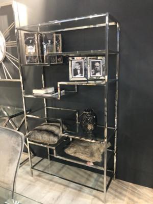 Regal Silber,  Glas Regal verchromt,  Bücherregal Silber, Maße 185 x 100 cm